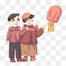 手绘传统节日元宵节插画图片