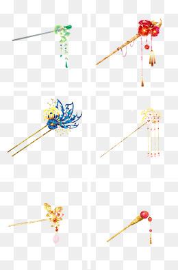 中国古风手绘淡雅宝石发簪