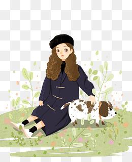 手绘清新文艺风少女和狗狗