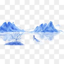 手绘中国风古风水墨写意山水画