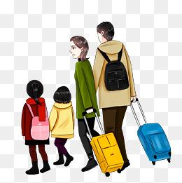 春节春运回家旅行旅游手绘卡通家庭家人图片