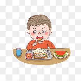 卡通手绘人物吃饭少年图片