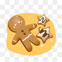 圣诞节大雪卡通手绘圣诞插画饼干图片