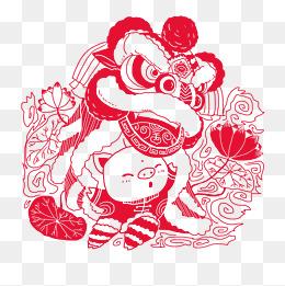 2019中国风春节猪年卡通猪福娃舞狮剪纸