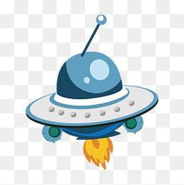 蓝色的圆形宇宙飞船插画图片