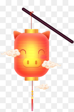 农历新年猪年卡通猪灯笼插画装饰装饰图案扁平风免抠