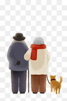 老人狗狗等待背影温暖手绘插画图案