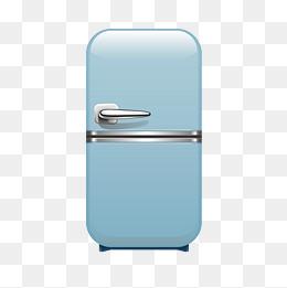 蓝色的冰箱手绘插画图片