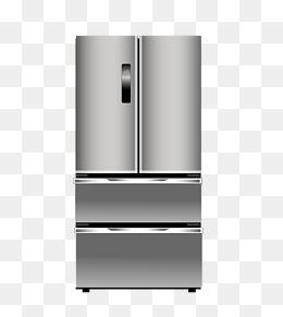 手绘卡通灰色冰箱插画图片