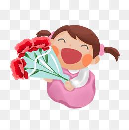 送花的小女孩卡通手绘素材免费下载图片