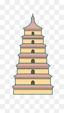 手绘建筑西安大雁塔插画