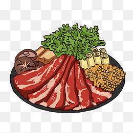 插画类火锅配菜图