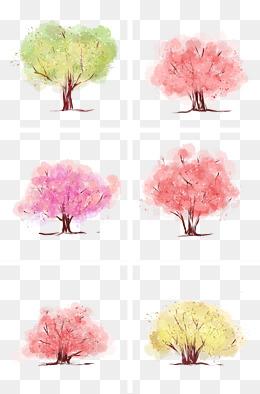 小清新插画风手绘水彩树木樱花树