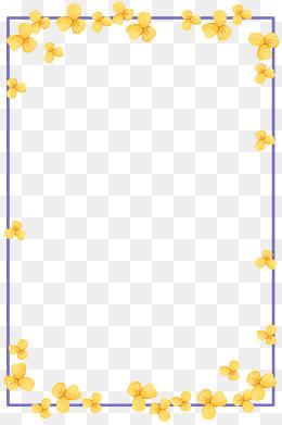 手绘小清新黄色花朵边框