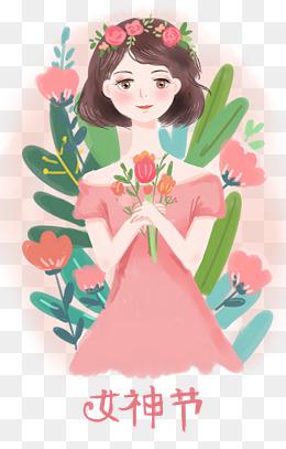 38妇女节女神节手绘插画