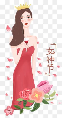 38妇女节女神节手绘插画女王节