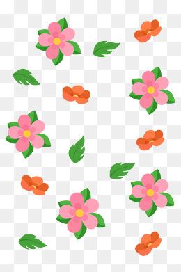 红色小花底纹手绘插画