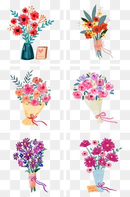 水彩手绘花朵花束组图png免抠素材