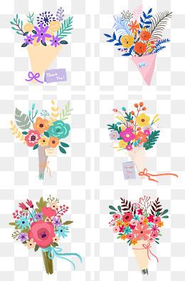 小清新手绘花朵花束组图png免抠素材