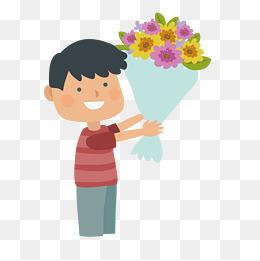 卡通送花的小男孩免抠图图片