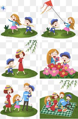 春季全家踏青旅游春游可爱插画