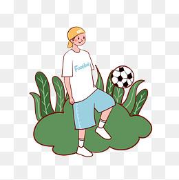 卡通可爱矢量免抠公园玩足球的小男孩图片
