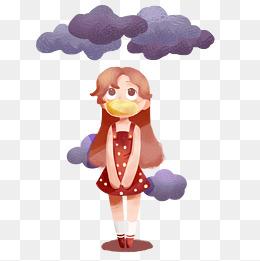 带口罩的小女孩插画图片