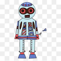 机器人设计卡通机械质感手绘插画风蓝红配色螺丝钉圆头图片
