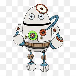 机器人设计卡通机械质感手绘插画风蓝红配色探测器圆头图片