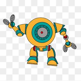 机器人设计卡通机械质感手绘插画风黄绿配色探测器圆头图片