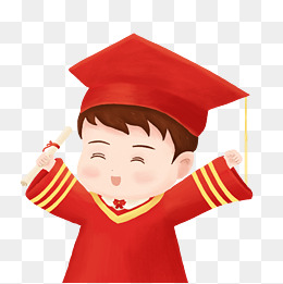 毕业季红色卡通博士帽放大镜素材图片