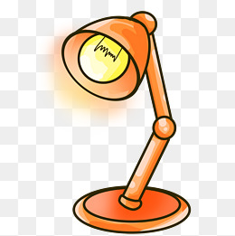 橙色台灯卡通插画图片