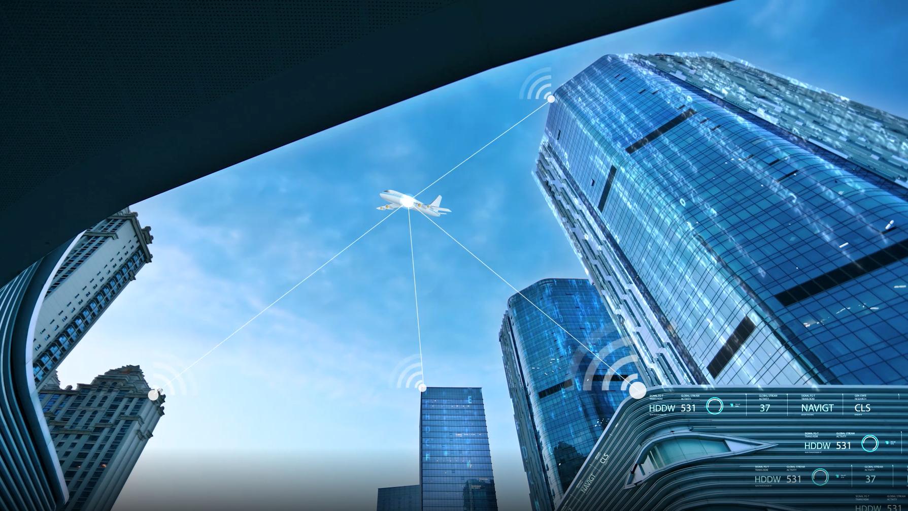 科技感城市實拍數字文字片頭