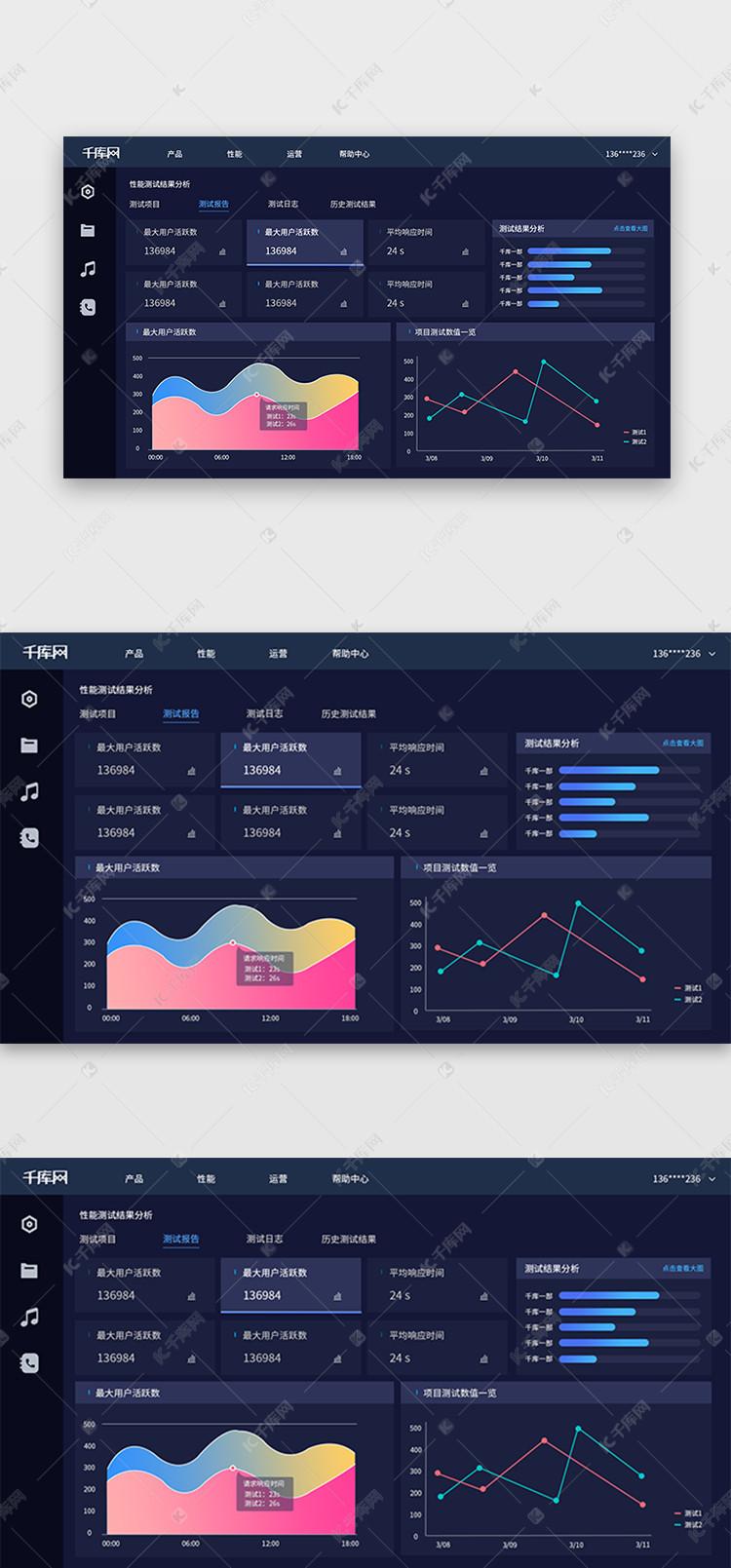 深蓝色教程实例数据可视化大气ui设计素材后台ps平面设计页面图片