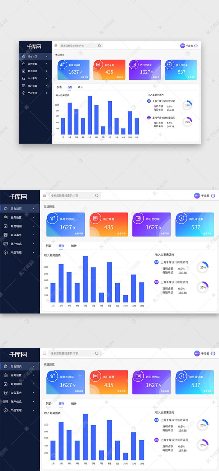 商务家装蓝色页面大气可视化后台ui设计素材什么是数据设计院图片