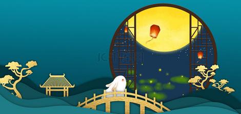 中秋节玉兔观月绿色背景