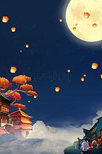 中秋节月亮复古建筑背景