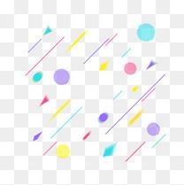 孟菲斯风格线条彩球几何元素