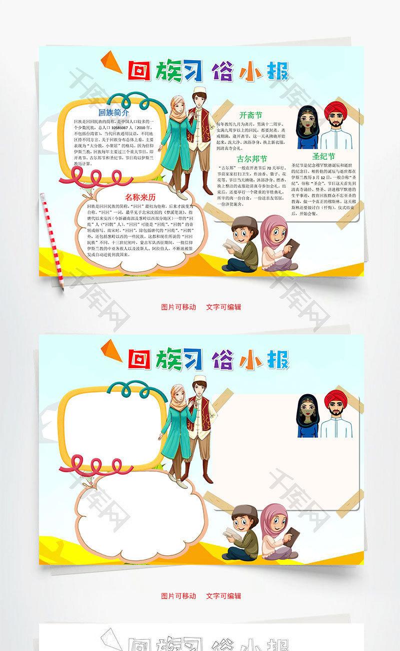 古尔邦节小报_卡通回族习俗小报word手抄报_千库网(手抄报ID:83122)