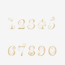 阿里伯数字金色金属艺术字矢量图