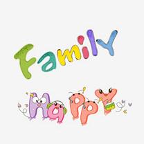 英文快乐家庭happy family艺术字体