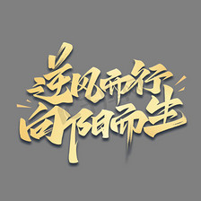 逆风而行向阳而生励志文案毛笔金色艺术字体