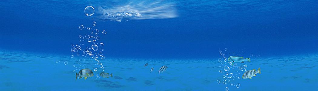 蓝色海洋海底清新背景banner