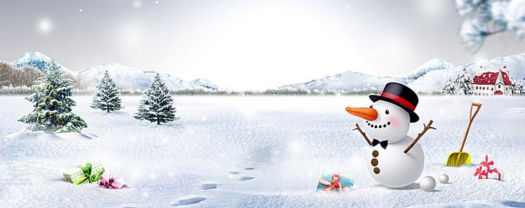 唯美冬季雪景海报背景banner