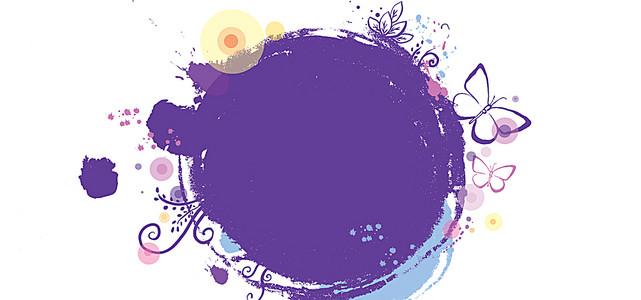 紫色圆形和墨点蝴蝶背景