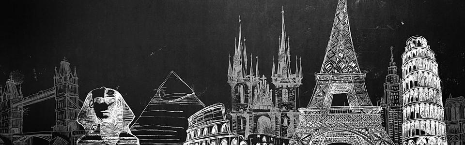 黑白手绘各国名建筑海报背景