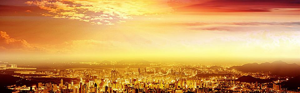简约大气金色建筑海报背景
