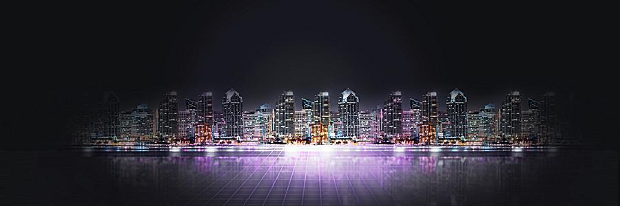 简约大气建筑都市夜景海报背景