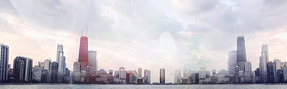 唯美清新现代都市海报背景