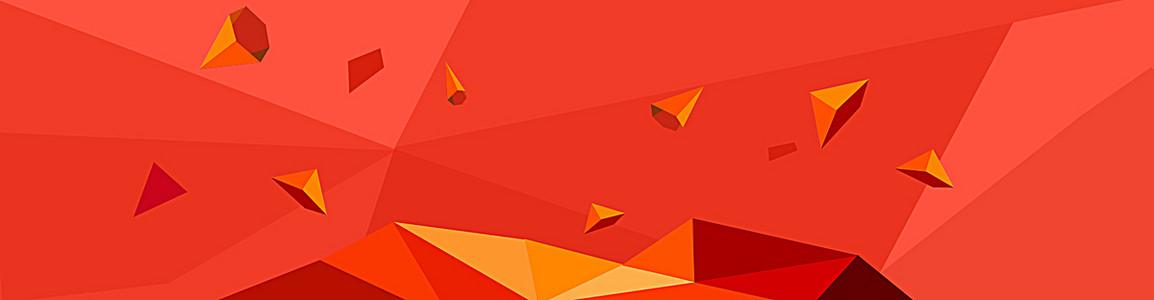 红色背景几何多边形banner展板